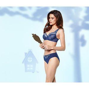 Tchibo női merevítős melltartó, csipke, kék kép