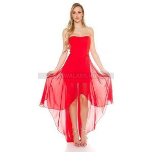 Alkalmi ruha hátul hosszú, áttetsző résszel - piros - catwalker kép