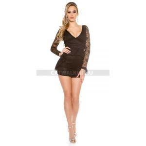 Alkalmi ruha csipkés, hátán masnis - fekete - catwalker kép