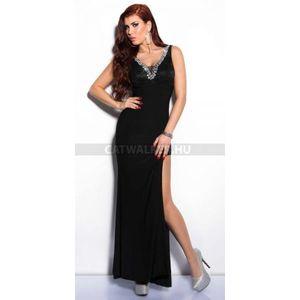 Alkalmi ruha hosszú, kövekkel díszített - fekete - catwalker kép