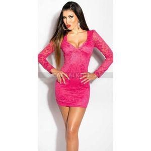 Alkalmi ruha, dekoltált, csipke - pink - catwalker kép