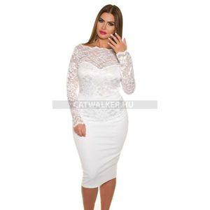 Alkalmi ruha, hosszú ujjal, csipkés - fehér - catwalker kép