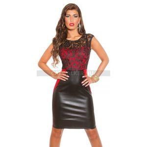 Alkalmi ruha, csipkés, alján műbőr hatású - fekete-piros - catwalker kép
