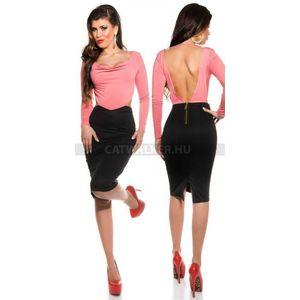 Alkalmi ruha K18435, nyitott háttal - lazac-fekete - catwalker kép
