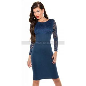 Alkalmi ruha csipke felsőrészű, hosszú - kék - catwalker kép
