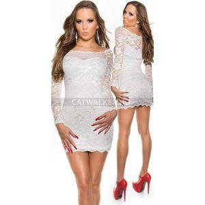 Alkalmi ruha, fehér csipke - K9114 - catwalker kép