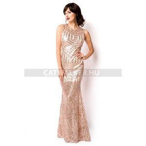 Estélyi ruha flitteres, hátán nyitott - arany - catwalker kép
