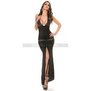 Estélyi ruha derekán és mellén strasszokkal díszített - fekete - catwalker kép