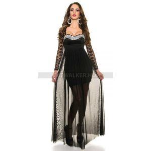 Estélyi ruha, csipkés, köves K9141 - fekete - catwalker kép