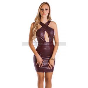 Party ruha vizes hatású, hátán cipzáros - bordó - catwalker kép