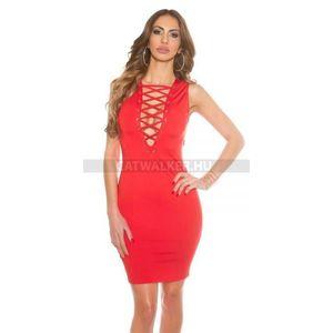 Party ruha mellén fűzős - piros - catwalker 3fb1a1ded3