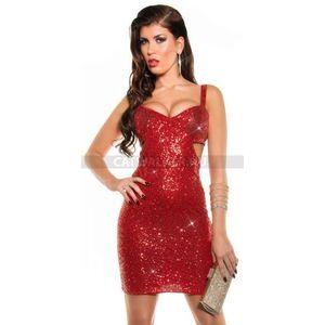 Party ruha elején flitteres, oldalán kivágott - piros - catwalker kép