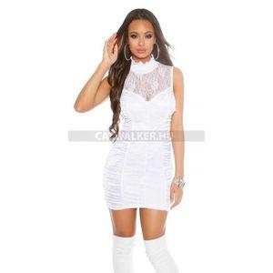 Party ruha csipkés, cipzáros - fehér - catwalker kép