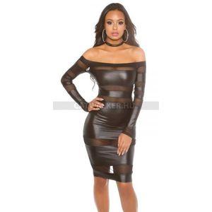Party ruha vizes hatású, áttetsző anyaggal díszített - fekete - catwalker kép