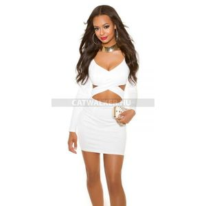 Party ruha derekán kivágott - fehér kép
