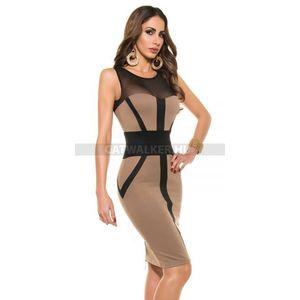Party ruha mellénél áttetsző, cipzáros K18899 - cappuccino - catwalker kép
