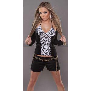 Női felső nyakbakötős, vállán kivágott - zebra - catwalker kép
