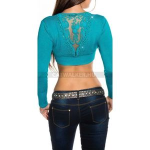 Női felső, haspóló, hátán hímzett - zafír - catwalker kép