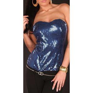 Női felső pánt nélküli, flitteres - kék - catwalker kép