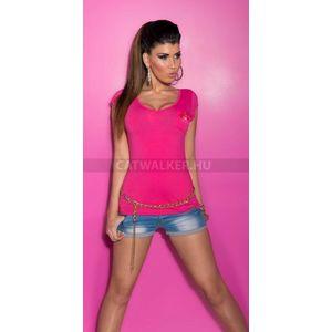 Női felső zsebes, szegecses - pink - catwalker kép