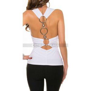 Női felső nyakbakötős t9343 - fehér - catwalker kép