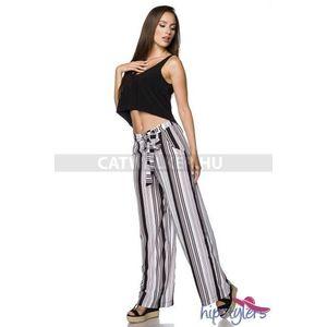 Női nadrág bő fazonú, csíkos -fekete-fehér - catwalker kép