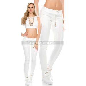 Női nadrág bőrhatású, szövet díszítéssel - fehér - catwalker kép
