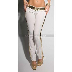 Női nadrág flitteres - fehér-arany - catwalker kép