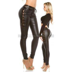 Női nadrág bőrhatású, fűzős - fekete - catwalker kép