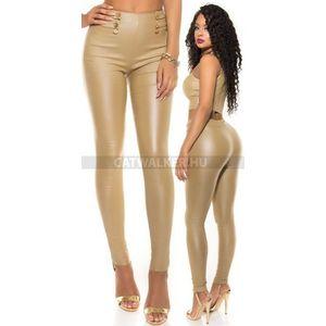 Női nadrág bőr hatású, magas derekú - bézs - catwalker kép