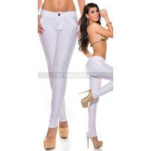 Női nadrág fényes anyagú, derekán megkötős fehér