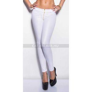 Leggings bőrhatású, cipzáros - fehér - catwalker kép