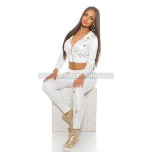 Leggings, sportos, nyomott mintás, dögös - fehér - catwalker kép