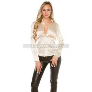 Női ing, blúz szatén hatású - bézs - catwalker kép