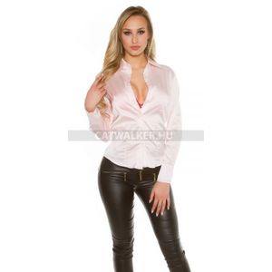 Női ing, blúz szatén hatású - rózsaszín - catwalker kép