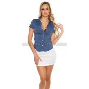 Női ing, blúz rövid ujjú, szűk fazonú, pöttyös - sötétkék - catwalker kép