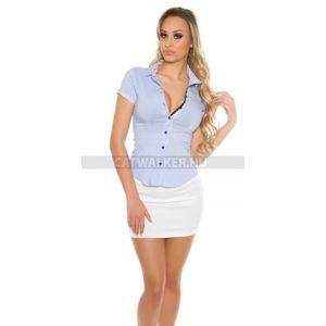 Női ing, blúz rövid ujjú, szűk fazonú, pöttyös - világoskék - catwalker kép