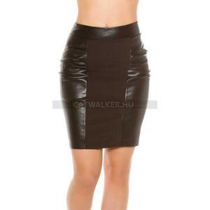 Szoknya bőrhatású anyaggal - fekete kép