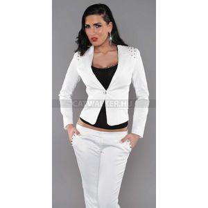 Blézer vállán szegecsekkel díszített - fehér - catwalker kép