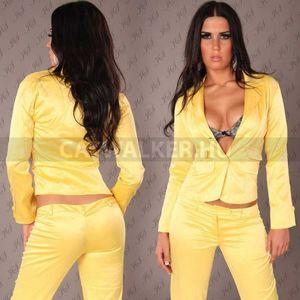 Blézer, szexi, szatén - sárga - catwalker kép