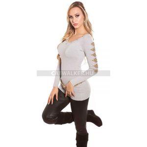 Női kötött pulóver flitterekkel díszített - szürke (42 db) - Divatod.hu 03573b443a