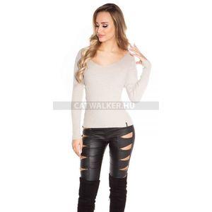 Női kötött pulóver V-nyakú, hátán kivágott - bézs - catwalker kép