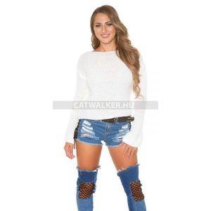 Női kötött pulóver bő ujjal - fehér kép