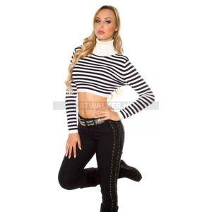 b0b8e32dd3 Női kötött pulóver garbós, csíkos, rövid derekú - fehér - catwalker