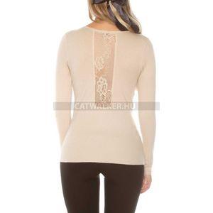 Női kötött pulóver hátán csipkés - bézs - catwalker kép
