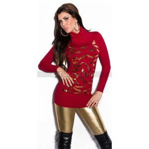 Női kötött pulóver garbós flitteres - piros (48 db) - Divatod.hu 042d971a64