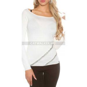Női kötött pulóver strasszos - fehér kép