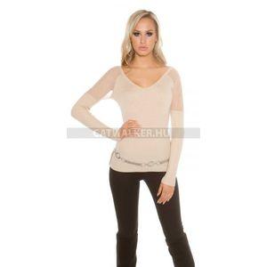 Női pulóver vállán áttetsző, strasszos - bézs - catwalker kép
