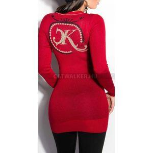 Kötött ruha hátán csillámos díszítéssel - piros - catwalker kép