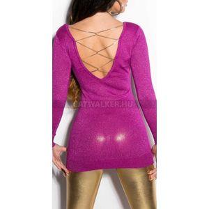 Kötött ruha mellén és hátán arany színű lánccal díszített, csillámos - ibolya - catwalker kép
